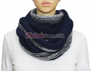 Infinity Two Tone Knit Scarf S1547 Navy