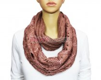 Infinity Sequin Knit Scarf Pink
