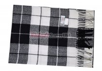 Cashmere Feel Plaid Scarf Black/White #60122