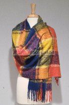 Cashmere Feel Plaid Scarf Shawl Orange/Blue