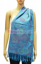 Paisley and Pattern Pashmina Cyan