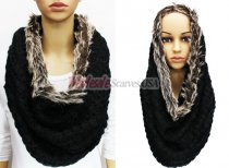 Infinity Faux Fur Solid Scarf Black