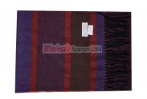 Cashmere Feel Stripe Scarf Wine