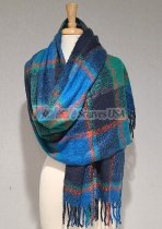 Cashmere Feel Plaid Scarf Shawl Blue/Green