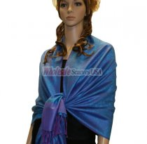 Paisley Jacquard Shawl Bright Blue w/ Purple