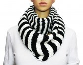 Infinity Striped Knit Scarf Black / White