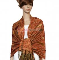Thicker Paisley Shawl Red w/ Saffron