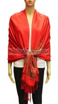 Wholesale Paisley Heart Pashmina Red