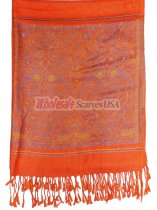 Wholesale Paisley Heart Pashmina Orange