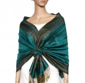 Jacquard Border Scarf Medium Aquamarine