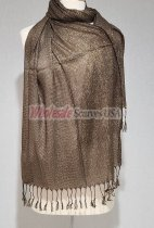 Sheer Metallic Scarf Brown