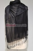 Sheer Metallic Scarf Black