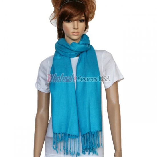 Solid Pashmina Bright Blue - Click Image to Close