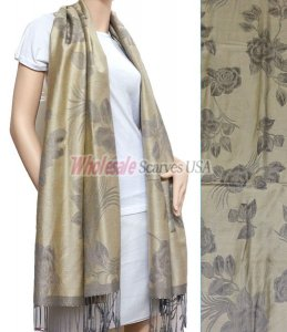 Rose Pashmina Grey w/ Beige