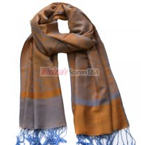 Paisley Jacquard Shawl Orange w/ Light Blue