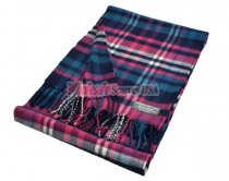 Cashmere Feel Plaid Scarf Blue Pink