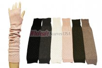 Winter Long Fingerless Studs Gloves 1 DZ, Asst. Color