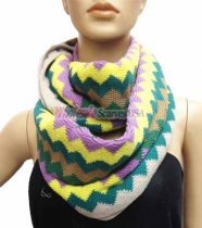 Zig Zag Infinity Knit Scarf Yellow Multi
