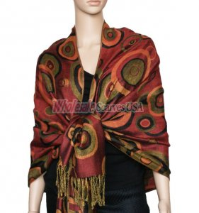 Circle Design Scarf Rust Red