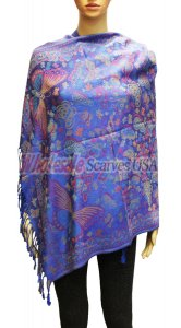 Wholesale Butterfly Design Pashmina Royal Blue