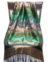 Paisley Striped Scarf Gold Green