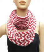 Infinity Fuzzy Chevron Scarf Red / White