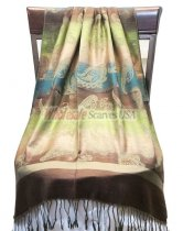 Paisley Striped Scarf Brown Green