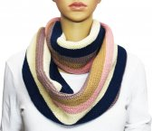 Infinity Section Multi Color Knit Scarf Pink multi