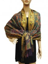 Pashmina Abstract Leaf Green