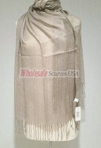 Sheer Metallic Scarf Taupe