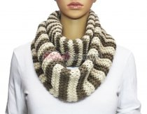 Infinity Striped Knit Scarf Brown / Off White