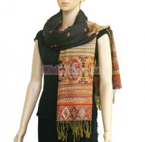 Paisley Stripe Pashmina Black / Red