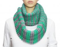 Infinity Striped Knit Scarf Green / Grey