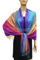 Pashmina Colorful Paisley Purple/Blue