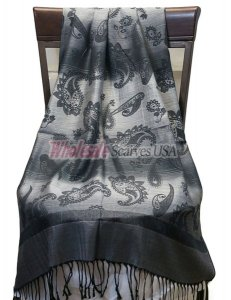 Paisley Striped Scarf Grey Black