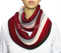 Infinity Section Multi Color Knit Scarf Burgundy multi