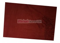 Woven Plain Scarf Wine Red