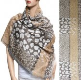 Leopard Section Pattern Scarf Brown