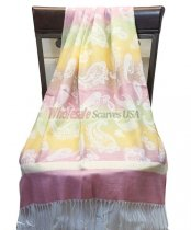 Paisley Striped Scarf Pink Yellow