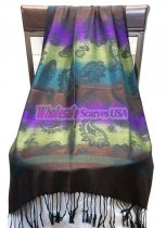 Paisley Striped Scarf Brown Purple