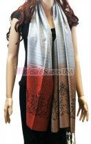 Two Tone Floral Scarf Silver Red