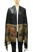 Elephant Pattern Scarf Black