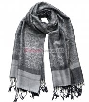 Paisley Jacquard Shawl Black w/ White Grey