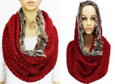 Infinity Faux Fur Solid Scarf Red