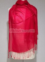 Sheer Metallic Scarf Red