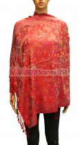 Wholesale Butterfly Design Pashmina Red