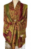 Paisley Flower Shawl Green/Red