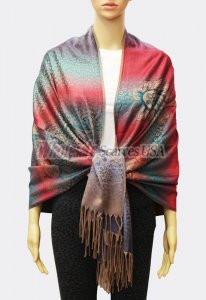 Pashmina Ombre Leopard Teal/Red