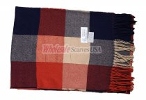 Cashmere Feel Checker Scarf Red/Navy