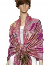 Metallic Pashmina Red Purple